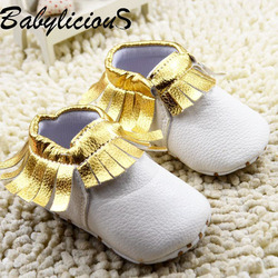 white Leather and Gold tassel Newborn Baby Boy Girl Soft Soled First Walkers Shoes Infant Toddler Moccasins