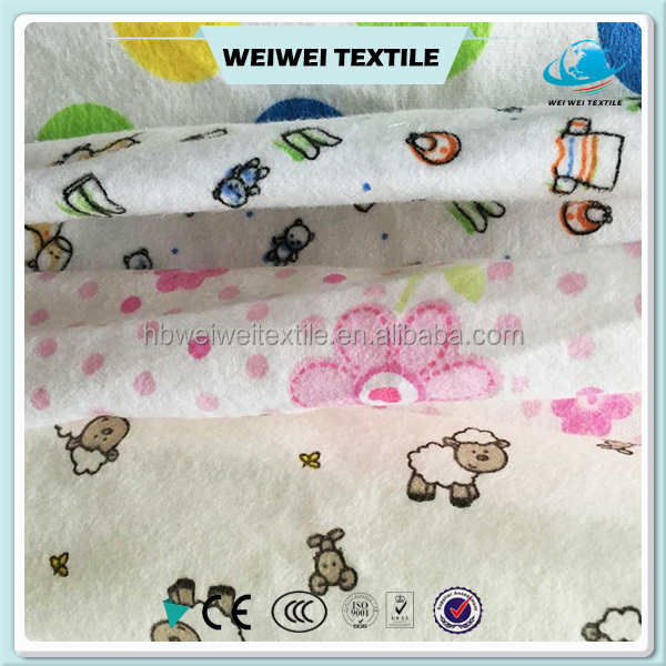 2016 new design factory price wholesale pure cotton printed flannel fabricfor baby's clothes