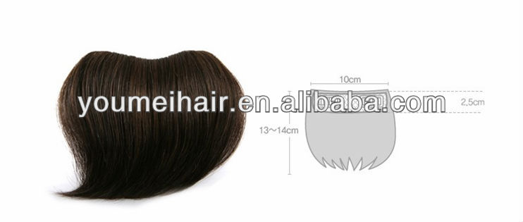 100% human clip brown hair bang pieces directly from factory