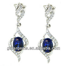 China factory oval blue stone 925 silver synthetic sapphire earring