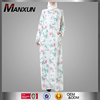 Fashion Printing Floral Lined Baju Muslim Abayas Long Sleeves Maxi Dress For Islamic Women