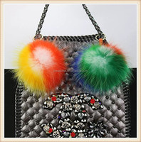 High quality custom colorful real raccoon pom pom fur bag charm