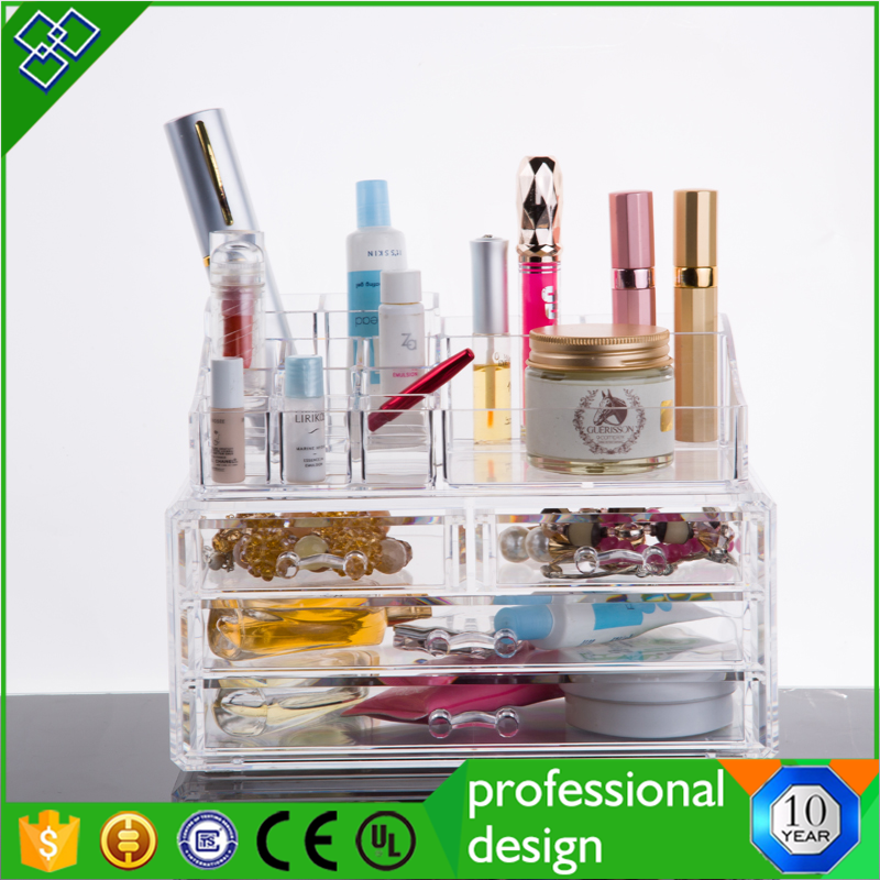 Diamond Handle Clear Acrylic Makeup Organizer,Acrylic Makeup Drawer Box,Flip Cover Acrylic Cosmetic Storage Boxes