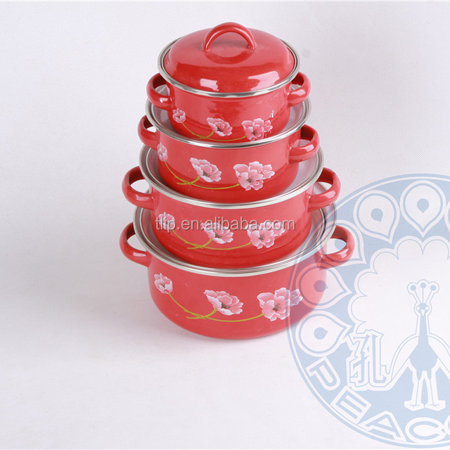 New product 16-24cm cooking pot cast iron red flower color enamel casserole set with glass lid/enamel lid