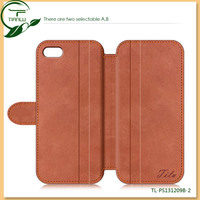 Coming New 2014! Flip PU Leather Case For iPhone 5, real leather cases for iphone can put the money and the credit cards