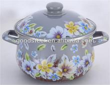Grey Enamel Pot With Decal /Enamel Cookware/Carbon steel cookware