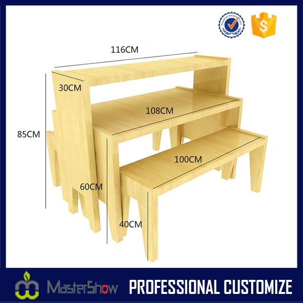 High quality fashional wooden snack display rack display table design for snack display racks