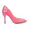 High quality pearl pointed toe brand name pink high heel shoe woman dress shoes