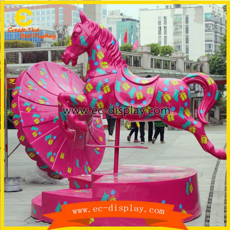 Commercial center display props outdoor large fiberglass life size horse statues for sale