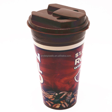 Professional Manufacture Double Wall Coffee Custom Printed Plastic Cup