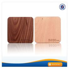AWC909 New silm wood design square 5200mah phone charger portable