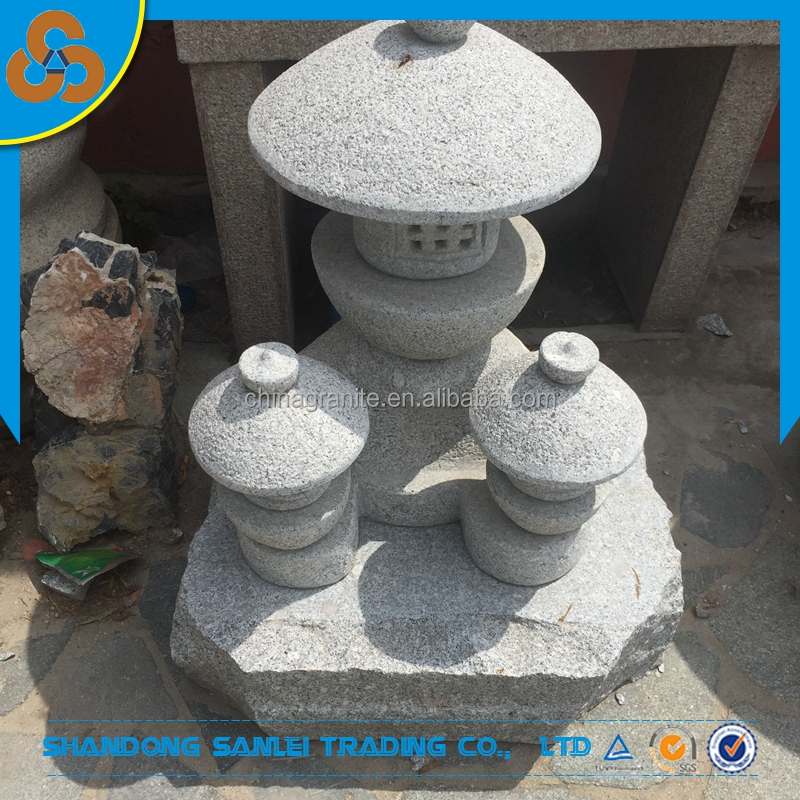 japanese style garden ornament mother and children granite stone light and lanterns for sale