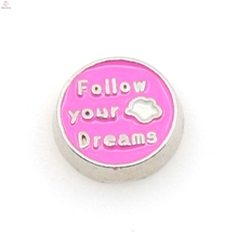 "Pink Lovely floating charms with letter ""Follow your Dreams"" for glass locket, charms wholesale"