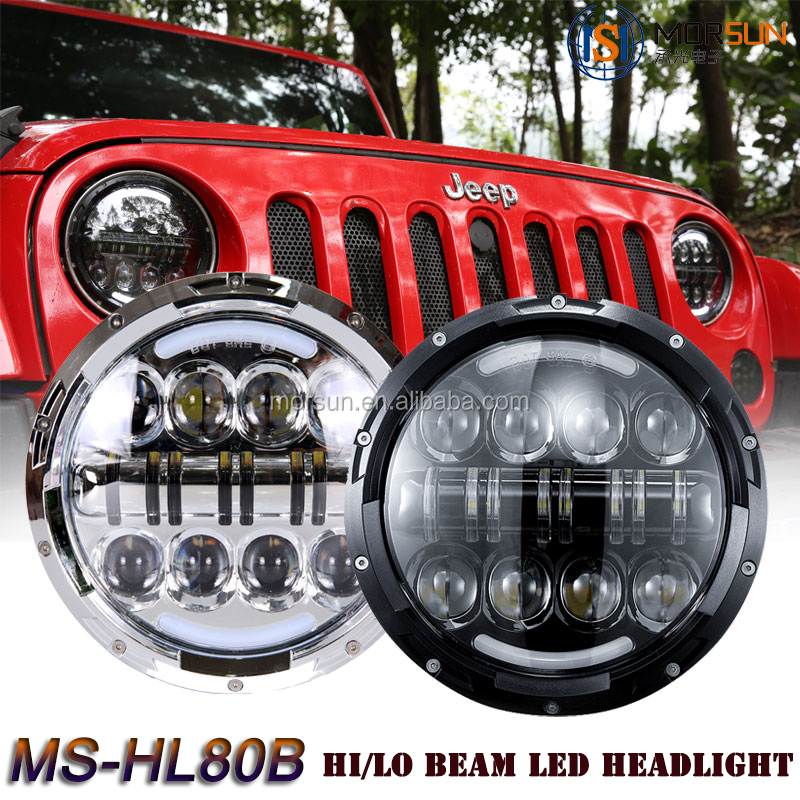 chrome headlights defender jeep parts china led auto headlight 7 inch halo projector headlights