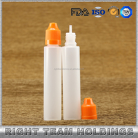 long thin tips 30ml plastic unicorn bottles with childproof cap for liquids
