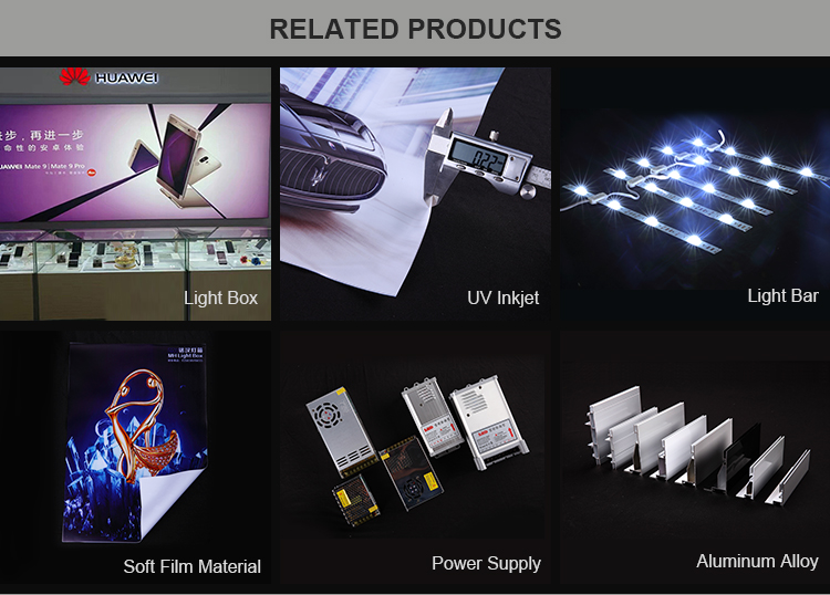 Best selling aluminum poster material led slim and rectangle shape light box