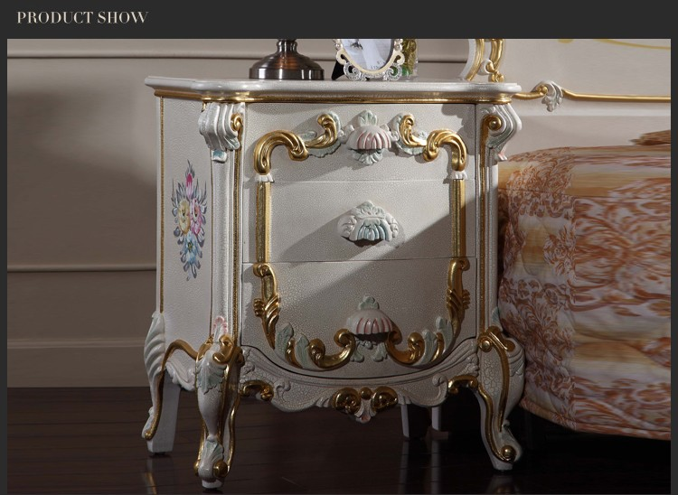 Italian style furniture solid wood hand carved bedroom nightstand