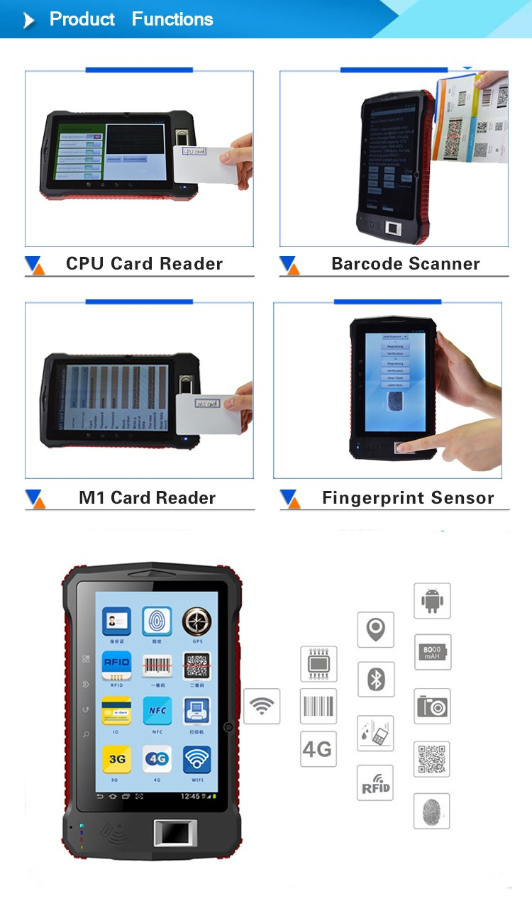 Android 6.0 restaurant wireless ordering pda rugged barcode scanner for inventory counts