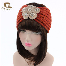 Soft Winter Pearls Flower Ear Warmer Headband Chunky Knit Headwrap