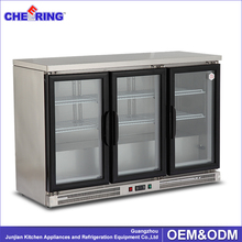 330L beer bottle refrigerator for bar , 3 door beer cooler , countertop display cooler