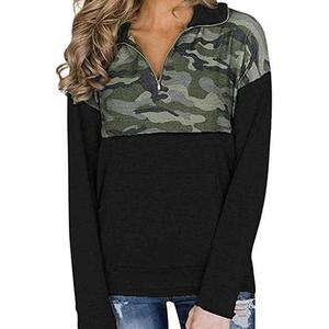 Custom Camo Splice Black Kangaroo Pocket Zip Collar Women Sweatshirt