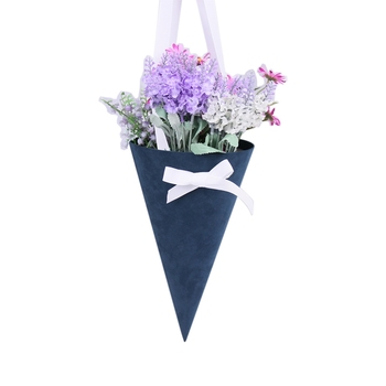 Fancy handmade velvet covered cardboard cone flower box