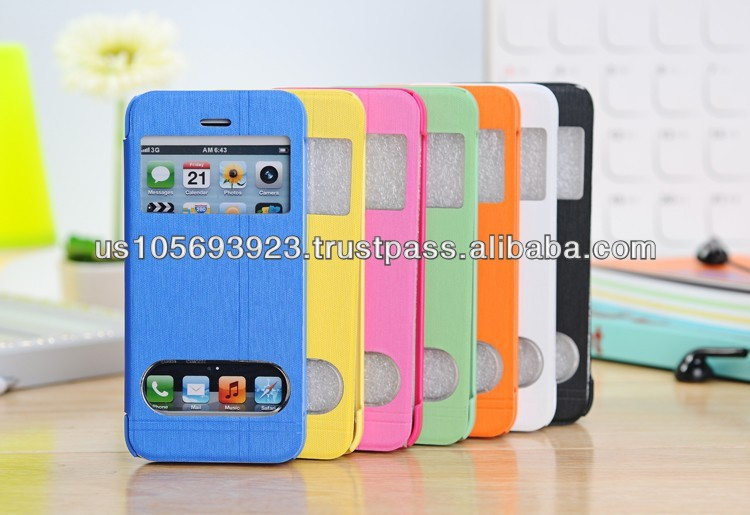 For Iphone 5C Leather Case Cover Front View Window 7 colors