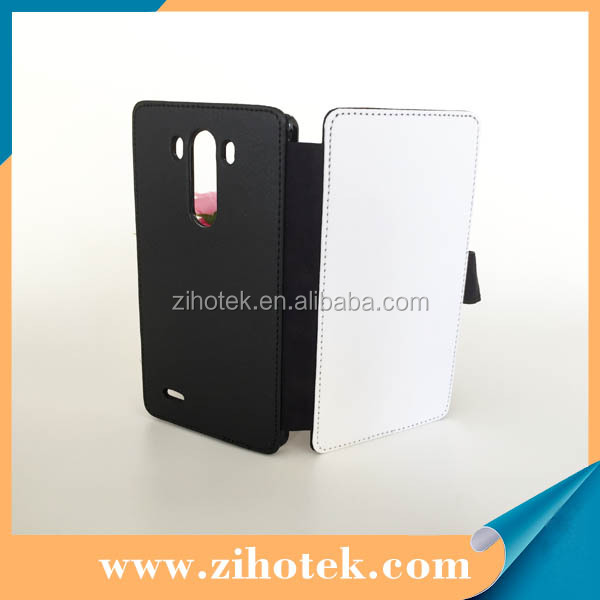 Blank sublimation leather flip mobile phone case for LG G3