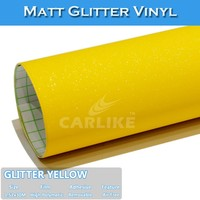 1.52x30m Shiny Lemon Yellow Glitter Car Wrap Vinyl Film/ Matt Glitter Stickers