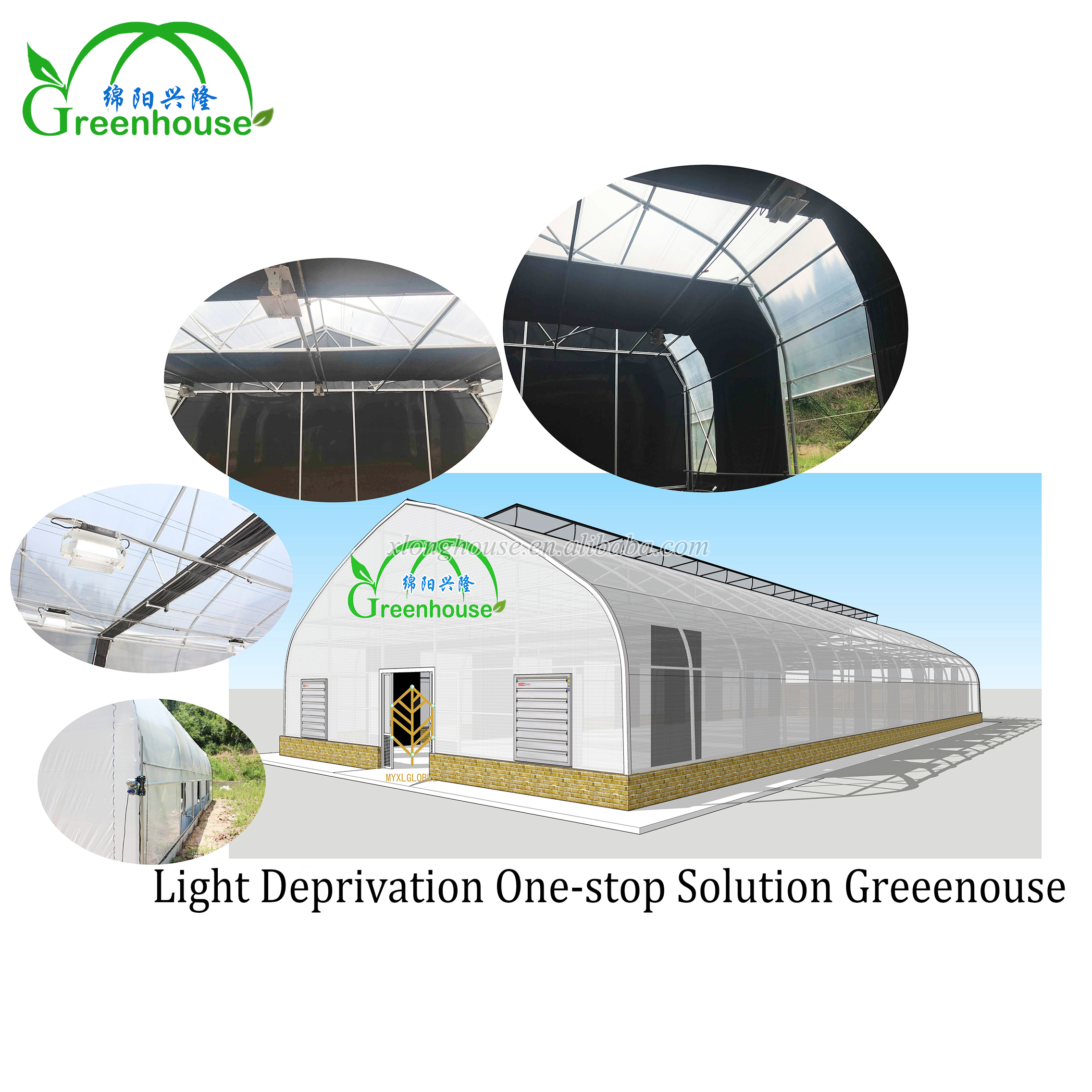 Europe standard gothic PE film light deprivation greenhouse with fan and light trap