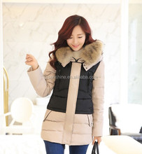 2017 Custom Fashion Long Lady Hooded First Down Coats