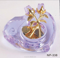 purple pink coloful heart music box glass crystal gifts for decor