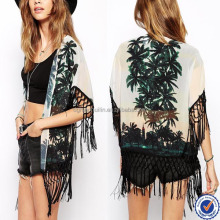 New Look apparel semi-sheer chiffon palm print tassel kimono for woman beach wear