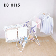 purple folding metal clothes drying rack with shoes clips