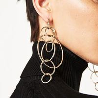 Barlaycs Round Circle Vintage Dangle Earrings Metal Maxi Jewelry Party Statement Charm Cheap Long Earrings Wholesale 5102