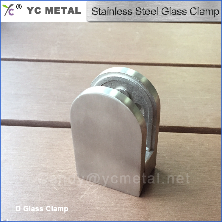 Stainless steel round D round back d shape glass clamp for round post