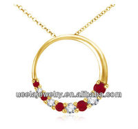 Round Ruby and Diamond Circle Journey Pendant chunky red costume jewelry necklaces