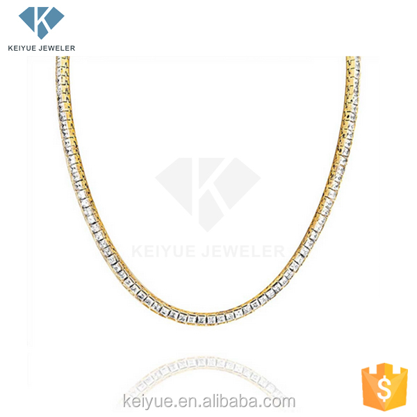 factory direct sales Crystal clear yellow gold plated silver simple design chain necklace