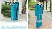 Blue Maternity dress for muslim with Embroideried