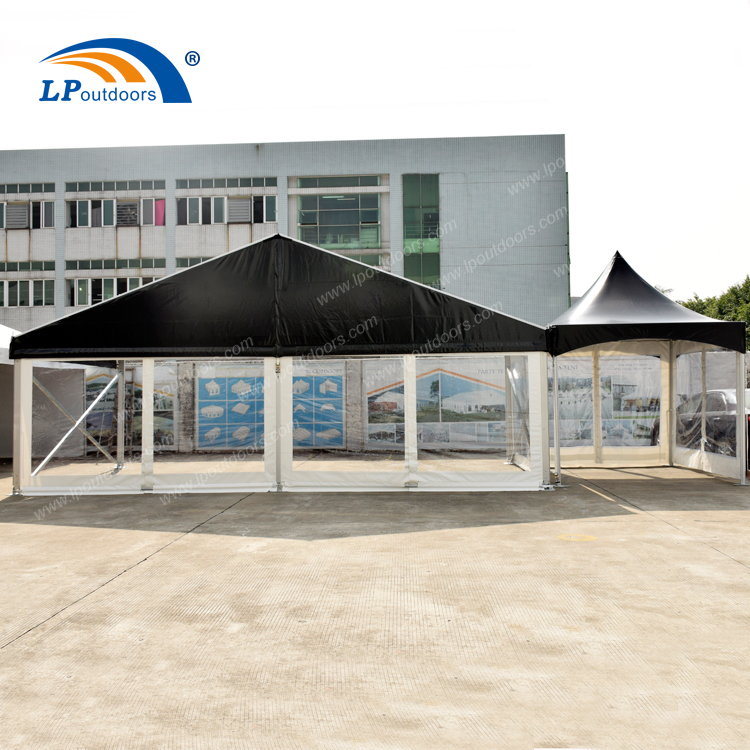 Width 12m black color PVC party tent with clear side walls for sale