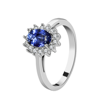 2019 factory Wholesale Custom Luxury Women's Engagement Anniversary Blue Sapphire 925 Sterling Silver <strong>Ring</strong>