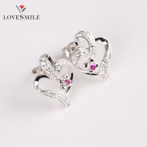 Custom synthetic ruby happy back big women 925 silver earrings