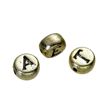 Wholesale Round Gold Tone Antique Gold Acrylic Russian Alphabet Beads