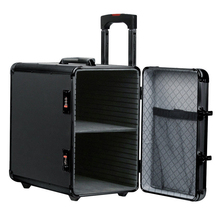 All black study excellent quality suitcase reinforce travel aluminum trolley jewelry case