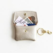 Factory genuine leather purse for keychain cowhide leather pouch with key ring
