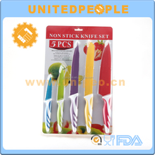 5 Piece Kitchen Knife Set Stainless Steel Knives with Multi Colored Non-Stick Coating Handle