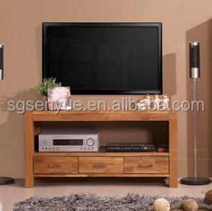 2 Layer 3 Drawer TV Unit Teak Wood TV Cabinet TV Stand