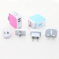 Exchangable and portable mobile phone 4 plugs with 4 USB universal charger