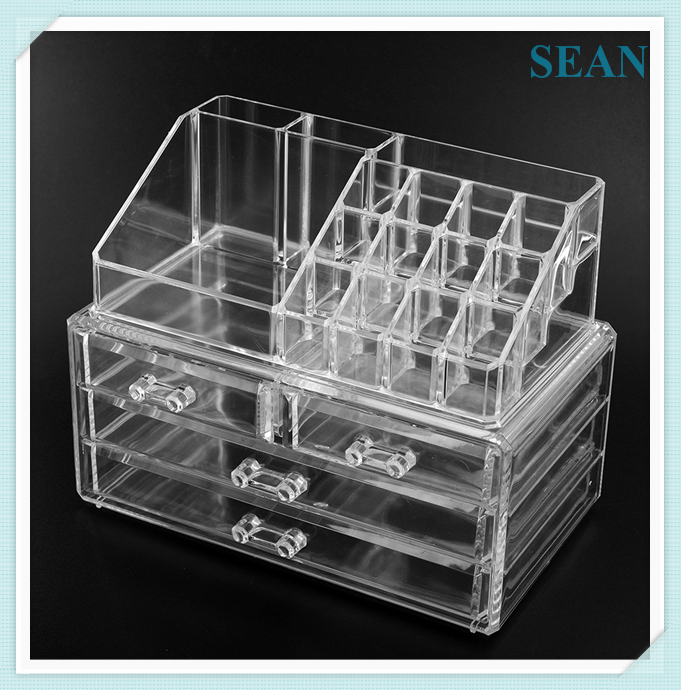 Logo design acrylic make up holder cosmetic display