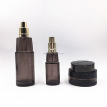 120ml 100ml 30ml 50g black glass bottle for cosmetic packing